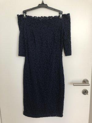 Orsay Carmen Etui-Kleid dunkelblau spitze schulterfrei Gr. 36