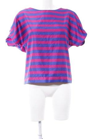 Orsay Glanzbluse blau-pink Streifenmuster Casual-Look