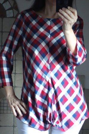 Orsay karierte Bluse, Tunika, A-Linie, rot, blau, weiß, weiche Viskose, Knoten vorne, rundhalb, 3/4 Arm, neuwertig, Gr. 38