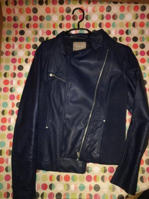 Orsay Faux Leather Jacket dark blue polyester