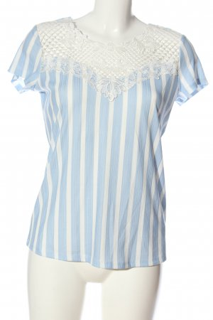 Orsay Kurzarm-Bluse blau-weiß Allover-Druck Casual-Look