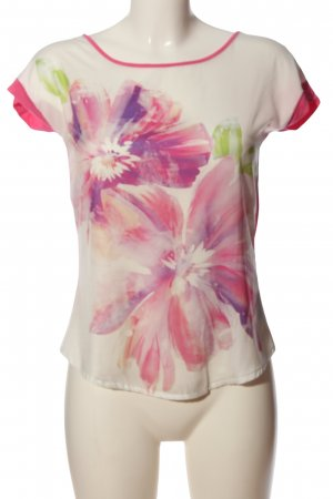Orsay Kurzarm-Bluse weiß-pink Allover-Druck Casual-Look