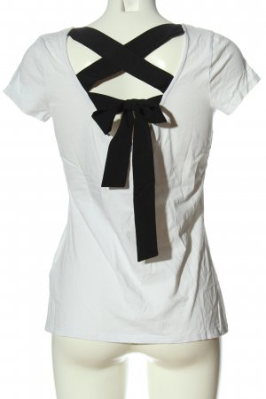 Orsay Top cut out blanco-negro look casual