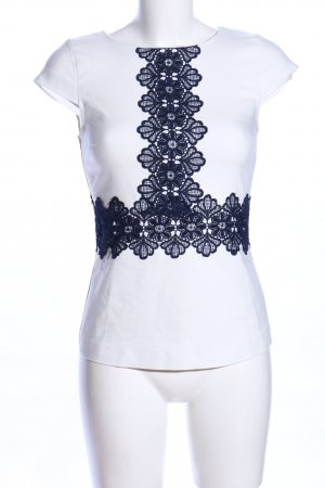 Orsay Kurzarm-Bluse weiß-blau Business-Look