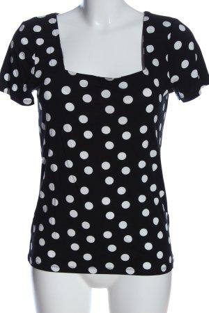 Orsay Kurzarm-Bluse schwarz-weiß Allover-Druck Casual-Look