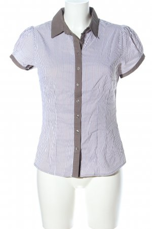 Orsay Camisa de manga corta marrón-blanco estampado a rayas estilo «business»