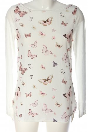 Orsay Langarm-Bluse weiß-pink grafisches Muster Casual-Look
