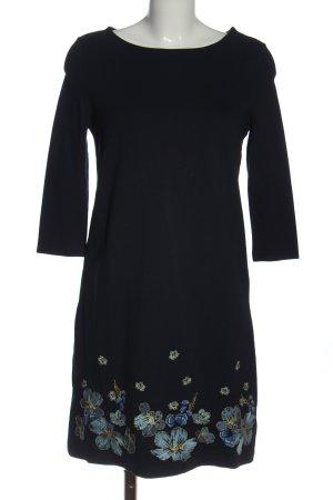 Orsay Langarmkleid schwarz-blau Blumenmuster Elegant
