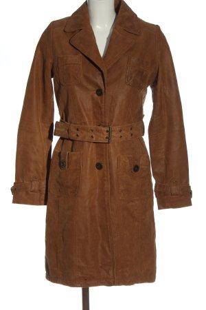 Orsay Manteau en cuir brun style décontracté