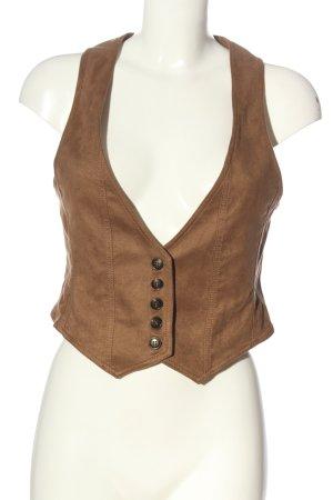 Orsay Gilet long tricoté brun style d'affaires