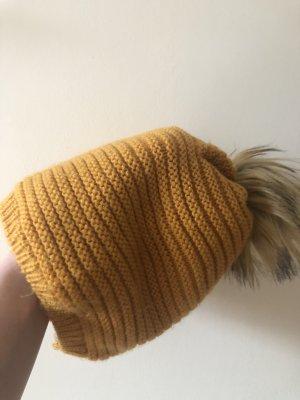 Orsay Wełniana czapka złotopomarańczowy-piaskowy brąz