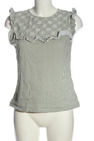 Orsay Koszulka w paski khaki-biały Wzór w paski W stylu casual
