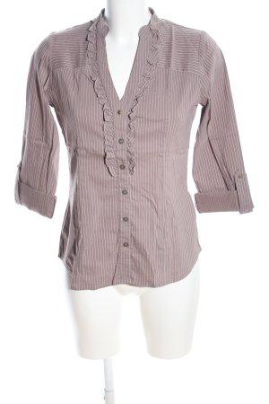 Orsay Rüschen-Bluse braun-weiß Streifenmuster Casual-Look