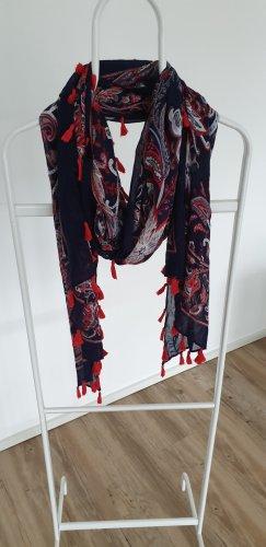 ORSAY, Schal, blau rot floralgemustert