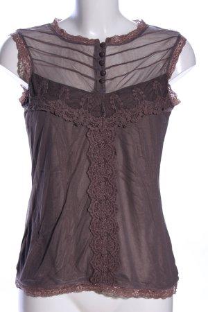 Orsay Top di merletto marrone stile casual