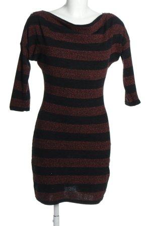 Orsay Strickkleid schwarz-braun Streifenmuster Casual-Look
