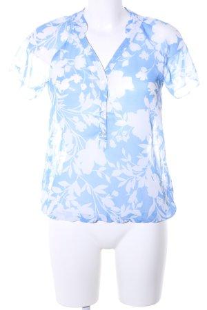 Orsay Transparenz-Bluse blau-weiß Blumenmuster Casual-Look