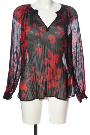 Orsay Transparenz-Bluse schwarz-rot Allover-Druck Elegant