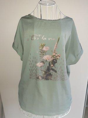 Orsay Türkise Top/T-Shirt mit Blumen Design Gr.42/44