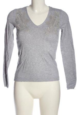 Orsay V-Ausschnitt-Pullover hellgrau meliert Casual-Look