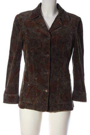 Orwell Lange blazer bruin gestreept patroon casual uitstraling
