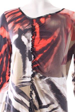 Orwell Print-Shirt abstraktes Muster Rüschenbesatz