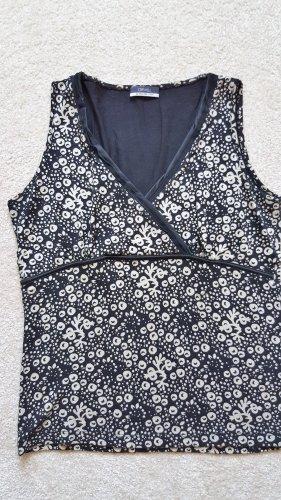 Orwell - Shirt in schwarz-weißer Wickeloptik - Gr. 40