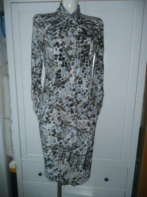 Orwell superschönes Blusenkleid Dress Seide Grau Hellblau Khaki Grün Beige gemustert Gr 36