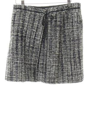 Orwell Wraparound Skirt black-white weave pattern casual look