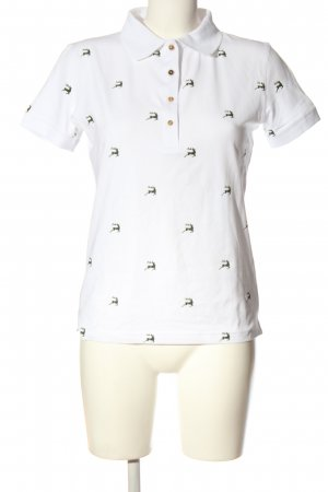 OS Polo Shirt white themed print casual look