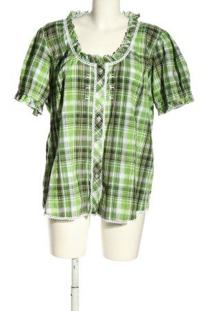 OS Trachten Blusa folclórica verde-blanco estampado a cuadros look casual