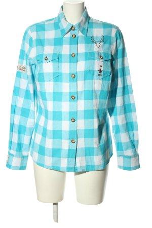 OS Trachten Trachtenhemd blau-weiß Allover-Druck Casual-Look