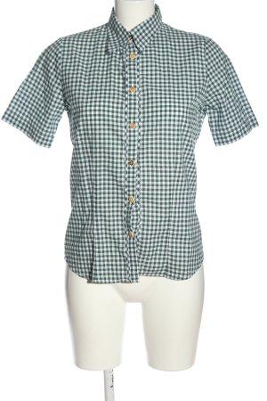 OS Trachten Trachtenhemd grün-weiß Allover-Druck klassischer Stil