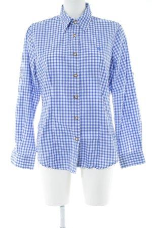 OS Trachten Trachtenhemd blau-weiß Allover-Druck Business-Look