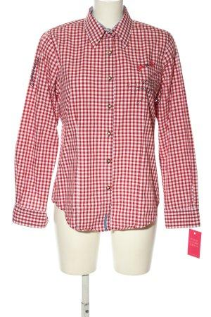 OS Trachten Chemise bavaroise rouge-blanc motif à carreaux style décontracté
