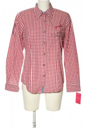 OS Trachten Folkloristische hemd rood-wit geruite print zakelijke stijl