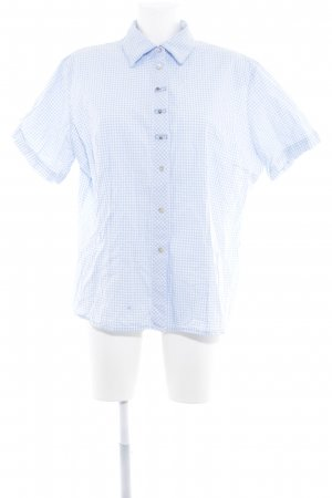 OS Trachten Folkloristische hemd azuur-wit geruite print klassieke stijl