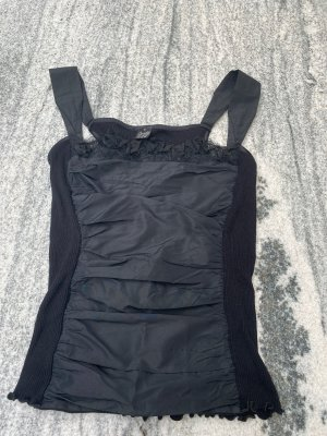 Oscalito Top Shirt  ausgefallen Schwarz 36-38 Seide Raffungen
