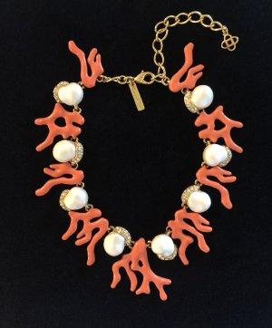 Oscar de la Renta Halskette Korallenriff Koralle Perlen Halskette Orange Kette Emaille Swarovski Kristalle