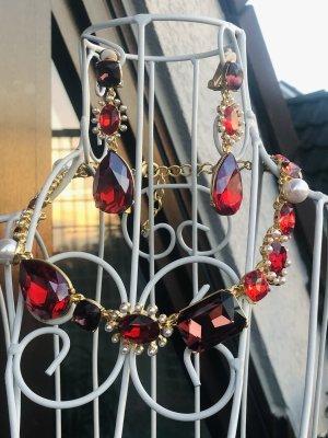Oscar de la Renta Ohrringe Clip rot gold red ruby crystals pearls
