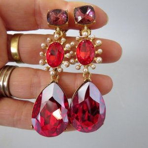 Oscar de la Renta Ohrringe Clip rot gold red ruby crystals pearls