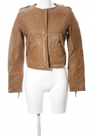 Osley Kunstlederjacke braun Steppmuster Casual-Look