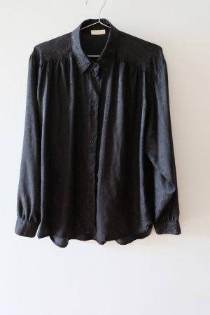 Vintage Glanzende blouse zwart Polyester