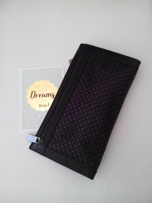 & other stories Clutch in schwarz-dunkelviolett aus echtem Leder, neu