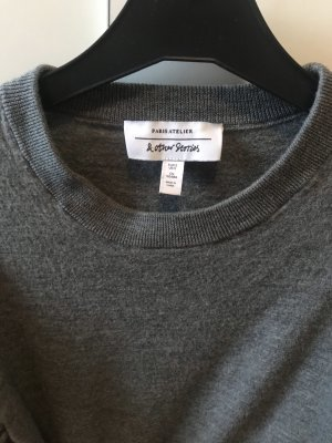 & Other Stories Cropped Pulli Grau aus 100% Wolle