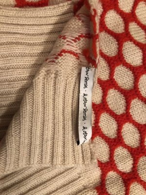 & other stories Knitted Scarf orange-natural white wool