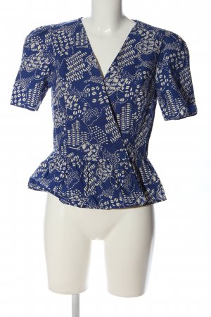 & other stories Short Sleeved Blouse blue-natural white abstract pattern