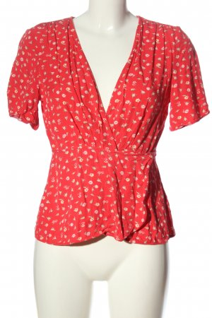 & other stories Kurzarm-Bluse rot-creme Allover-Druck Casual-Look