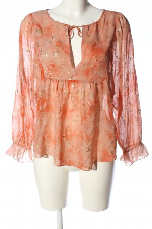 & other stories Langarm-Bluse rot abstraktes Muster Casual-Look