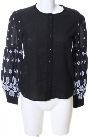 & other stories Long Sleeve Blouse black-white flower pattern casual look